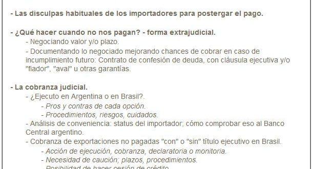 """SEMINARIO SOBRE """"COBRANZAS DE EXPORTACIONES A BRASIL"""""""